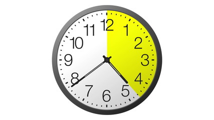 Clock with scanning in yellow. 24 hours time lapse isolated.