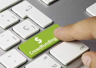 Crowdfunding keyboard key. Finger