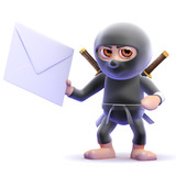 Ninja holds an envelope