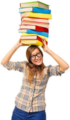 Student girl struggling with stack of books