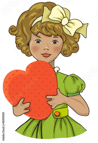Girl with heart, vintage valentines illustration