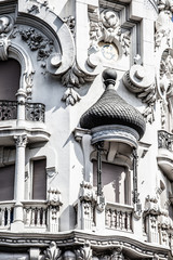 Facade of white building in Madrid, Spain