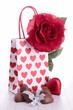 heart shape chocolate and gift