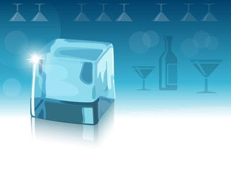 Ice cube and background with bottle and glasses silhouettes