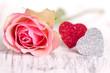 Doppelherz mit Rose