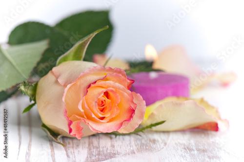 einzelne Rose mit Kerze