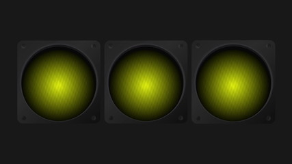 Animated traffic lights. Red, yellow and green blinking lights.
