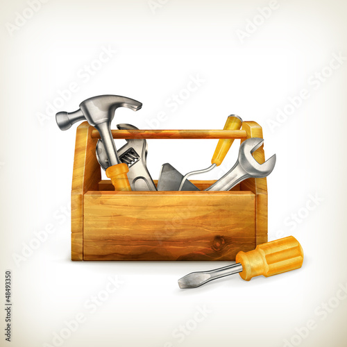 Wooden toolbox, old-style isolated