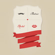 Vintage funny wedding invitation with lips and moustache