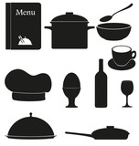 set kitchen icons for restaurant cooking vector illustration bla