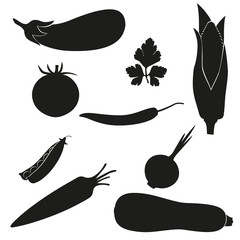 set of icons vegetables vector illustration black silhouette