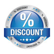 percent discount blue silver button isolated background