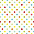 Colorful polka dots white background seamless vector pattern