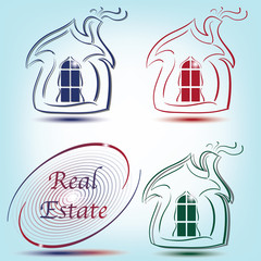 Real Estate logo and abstract symbol with house