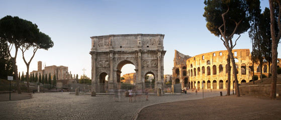 Panorama of the Colosseum and Arch of Constantine, Rome, Italy