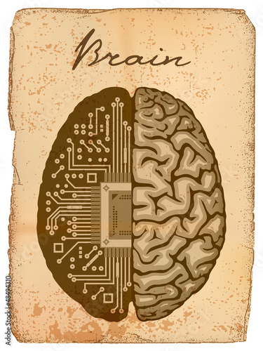 Old manuscript with illustration of Electronic brain.