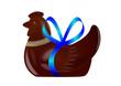 Poule de Pâques [cocotte] chocolat - Ruban bleu - Pâques