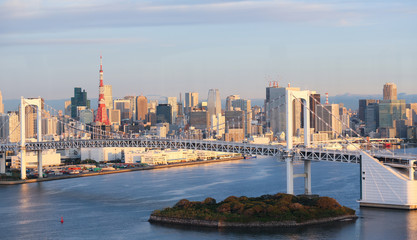 Tokyo Skyline with Tokyo Tower and Rainbow Bridge