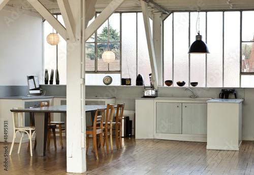 interior, beautiful kitchen of an old loft