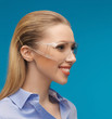 businesswoman in protective glasses