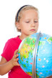 girl explore the world globe