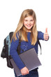 schoolgirl with laptop smiling thumbs up