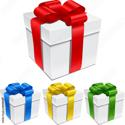 Set of gift boxes with bows and ribbons.