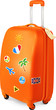 Orange travelling baggage vector suitcase with stickers