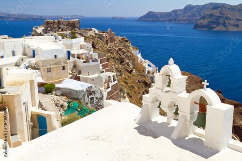 Architecture of Oia village on Santorini island, Greece