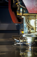 Laser sheet metal cutter in operation