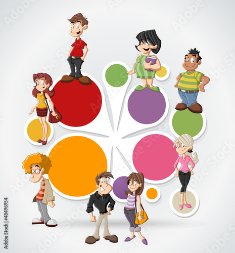 Colorful template with cute happy cartoon people