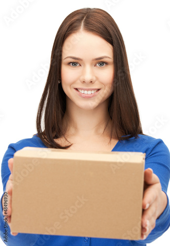 woman with cardboard box