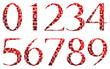 Abstract red numbers set