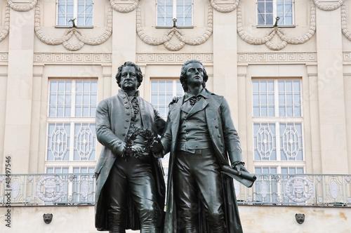 Leinwandbild Motiv Goethe-Schiller-Denkmal in Weimar