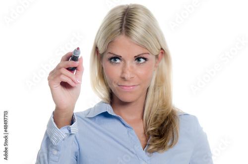 businessfrau macht sich notizen
