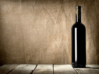 Black bottle of wine