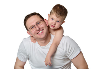 Closeup portrait of a happy father and son together