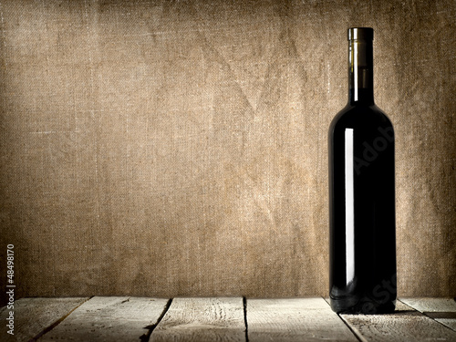 Black bottle of wine