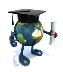 Globe with arms and legs, Graduation Cap and Diploma