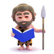 Caveman reads a book
