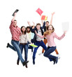 Group of happy young people jumping - isolated over a white