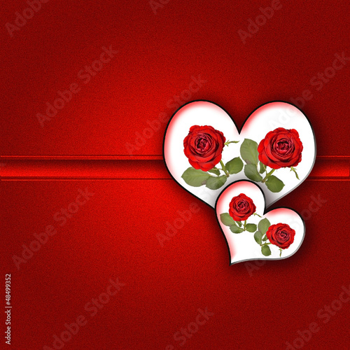 Roses and Hearts .Concept for Valentine's day background