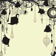 Antique background with tea party theme
