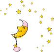 Mond mit rosa Mütze und Sternen - Mädchen