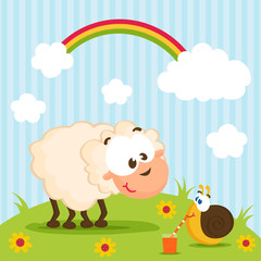 sheep and snail vector