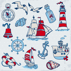 Nautical Sea Design Elements -for scrapbook and design in vector