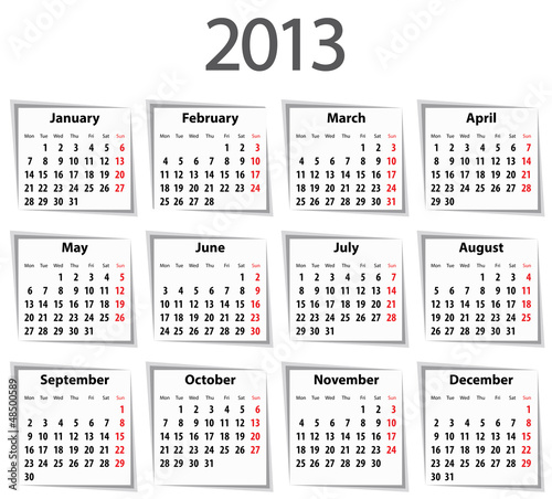Calendar for 2013. Mondays first