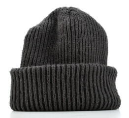 Black wool beanie hat cap perfect for winter weather isolated