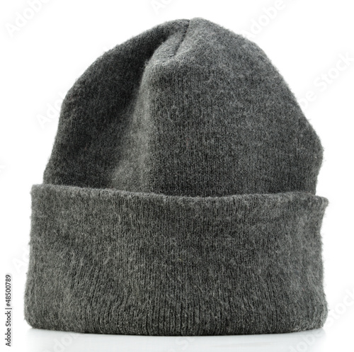 Gray beanie hat isolated on white background