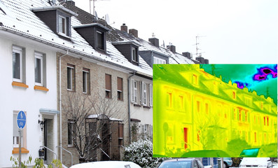 Wärmebild einer Häuserrreihe